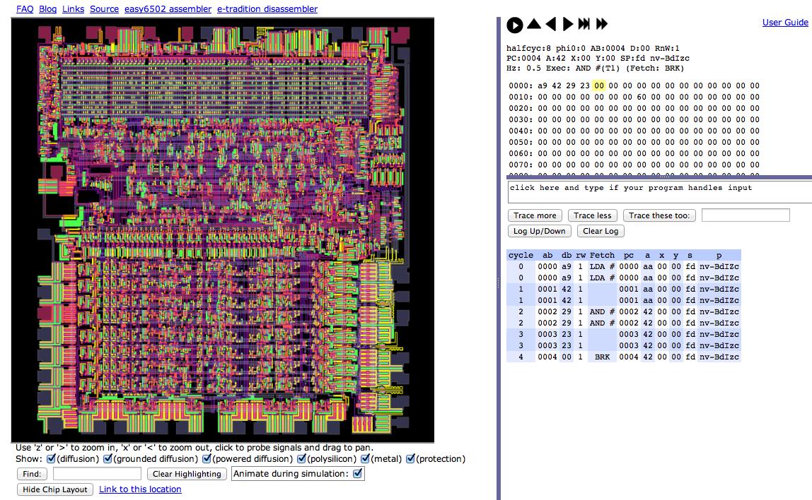 """Abb. 3.3 Visualisierung des 6502-Programms mithilfe des """"Visual 6502""""-Projekts, Endzustand nach Abarbeitung"""