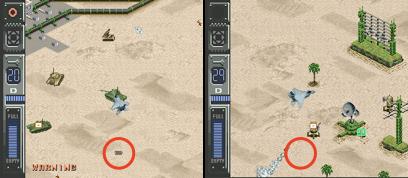 Abb. 3.4 Fehlender Schatten im Spiel Air Strike Patrol im Emulator ZSNES (rechts) durch nicht implementierte Mid-Scanline-Rastereffekte